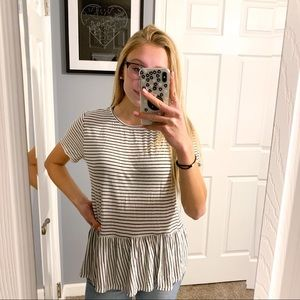 live in the moment black white stripe babydoll top